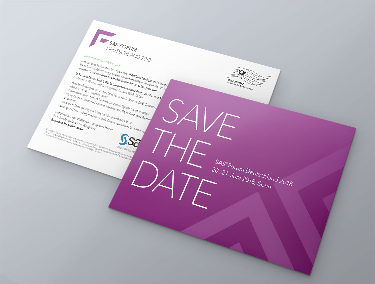 P12 Referenz SAS Forum 2018 Direct Mailing Save the Date Einladung