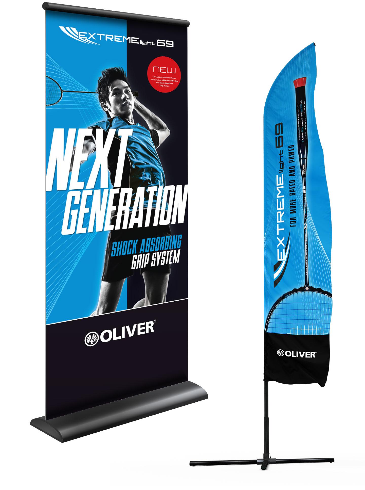 P12 Werbeagentur Heidelberg Referenz OLIVER Sport Badminton Racket Endverbraucher Rollup Beachflag