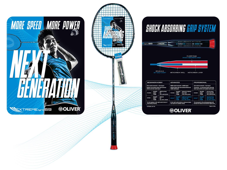 P12 Werbeagentur Heidelberg Referenz OLIVER Sport Badminton Racket Hang Tag