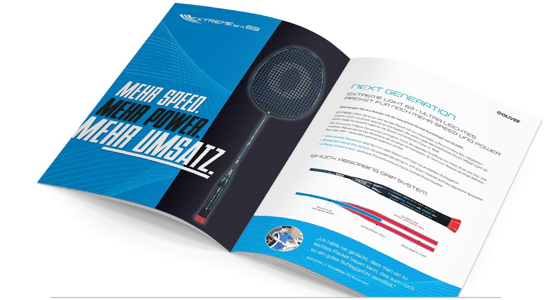 P12 Werbeagentur Heidelberg Referenz OLIVER Sport Badminton Racket Salesfolder