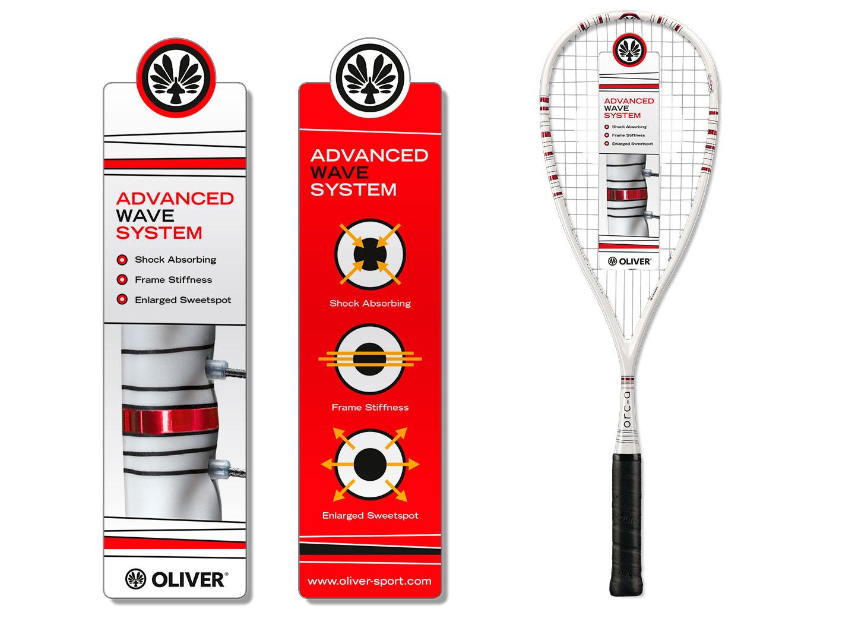 P12 Werbeagentur Heidelberg Referenz OLIVER Squash Racket Design Orca Hang Tag
