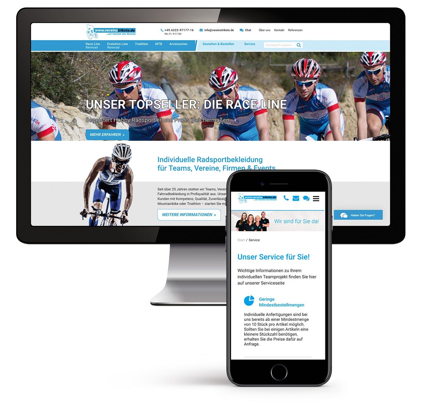 P12 Werbeagentur Heidelberg-Website Referenz Vereinstrikots Shopsystem mobile